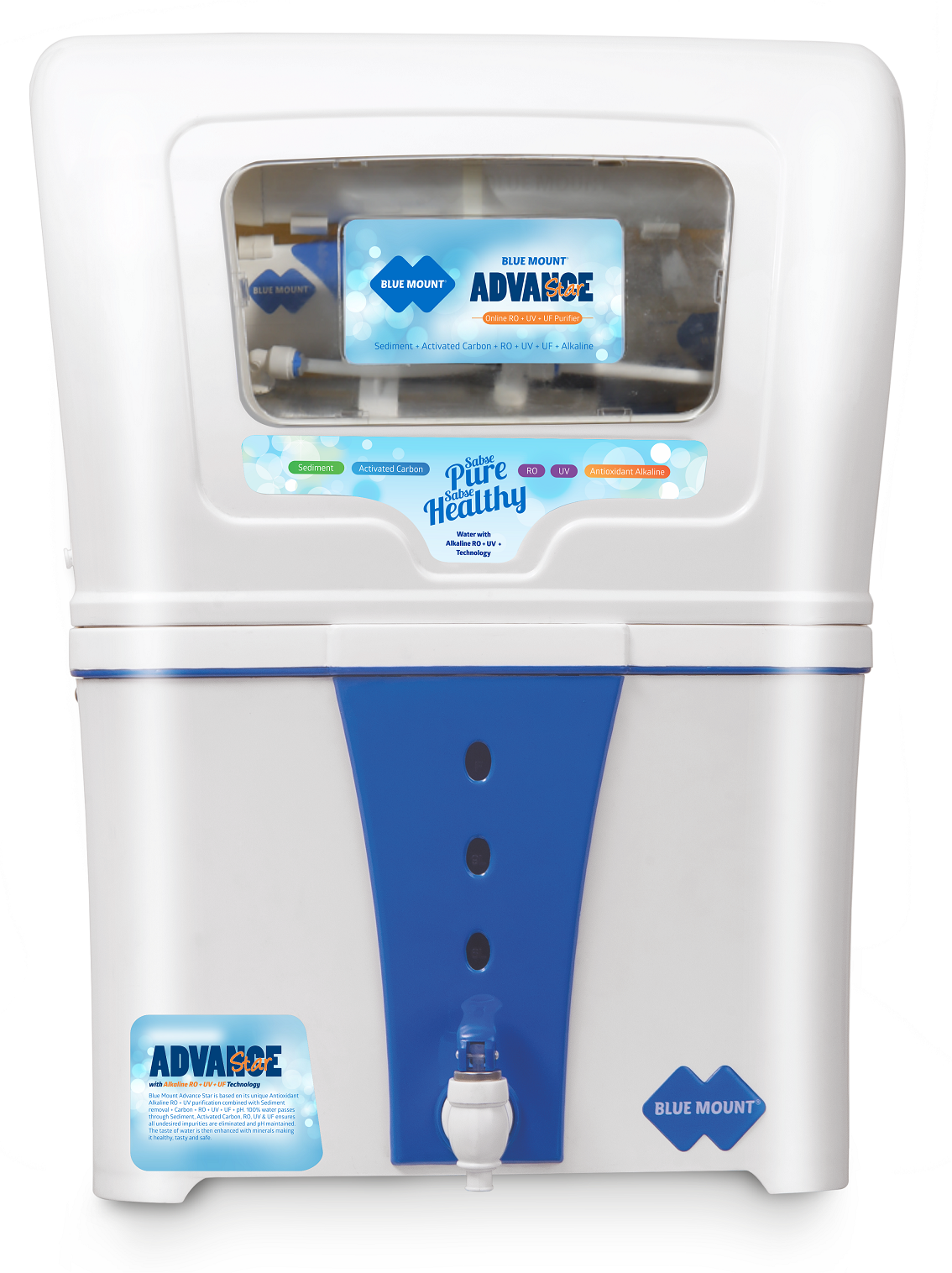 Blue Mount Advance Star Alkaline RO + UF + UV Water Purifier